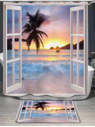 Window Scenery Printed Shower Curtain and Rug