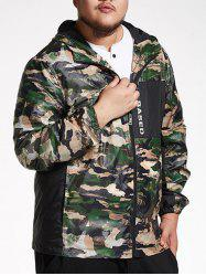 Plus Size Hooded Camo Track Jacket