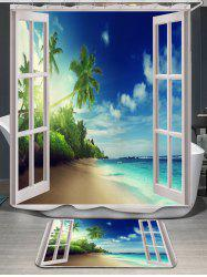 Window Scenery Coconut Tree Shower Curtain and Rug
