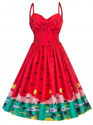 Vintage Watermelon Pin Up Swing Dress - RED S