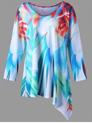 Long Sleeve Plus Size Print Asymmetric Tee
