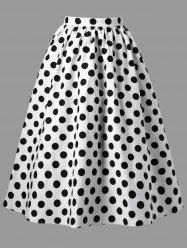 Polka Dot A-line Swing Skirt