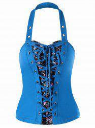 Lace Up Halter Neck Bustier Top -