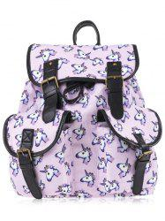 Emoji Unicorn Print Backpack