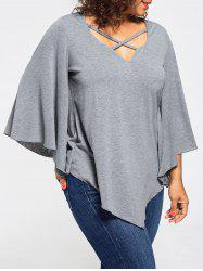 Lace Insert Batwing Sleeve Plus Size Blouse - GRAY