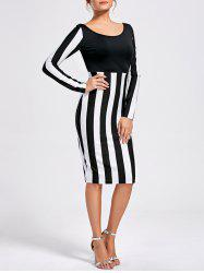 Formal Two Tone Long Sleeve Dress
