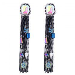 Rhinestone Tiny Pendant Embellished Fringe Drop Earrings