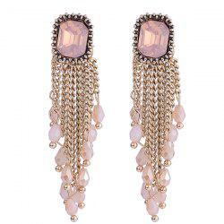 Link Chain Fringe Square Faux Gem Drop Earrings -