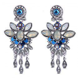 Boho Flower Shape Faux Crystal Inlay Drop Earrings