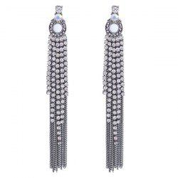 Fringe Link Chain Rhinestone Drop Earrings