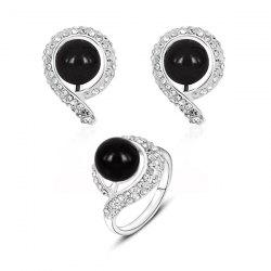 Rhinestone Ball Earring with Ring Set