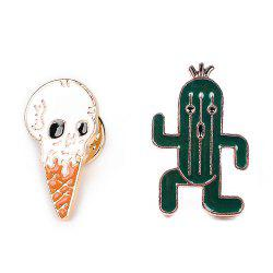 Brooch Set with Skull Ice Cream Cactus
