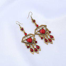 Rhinestone Teardrop Heart Chandelier Earrings