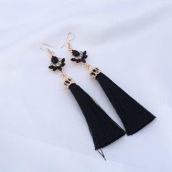 Rhinestone Tassel Teardrop Long Hook Earrings