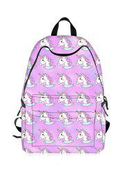 Padded Strap Unicorn Print Backpack - LIGHT PURPLE