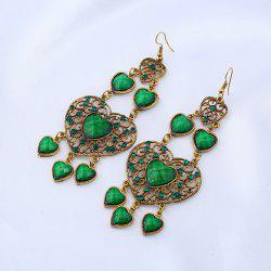 Rhinestone Heart Chandelier Hook Earrings