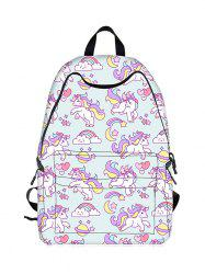 Padded Strap Unicorn Print Backpack