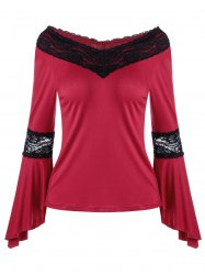 V Neck Lace Insert Bell Sleeve T-shirt