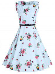 Vintage A Line Floral Dress with Belt