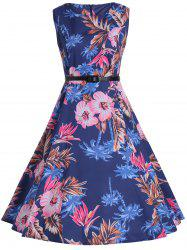 Vintage Print Knee Length Flare Cocktail Dress
