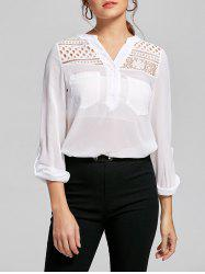 Pockets Lace Panel See Thru Blouse