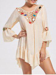 V Neck Bell Sleeve Sheer Crochet Tunic Top