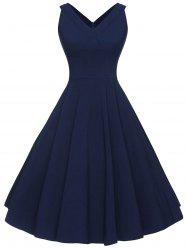Vintage V-neck Sleeveless Dress - PURPLISH BLUE