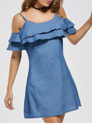 Ruffle Spaghetti Strap Cold Shoulder Mini Dress - BLUE