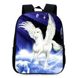 Padded Strap Unicorn Printed Backpack - BLUE