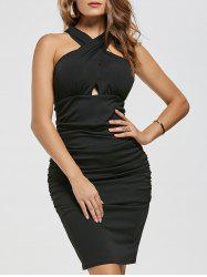 Ruched Bodycon Dress - BLACK