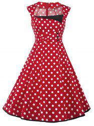 Vintage Polka Dot Buttons Fit and Flare Dress