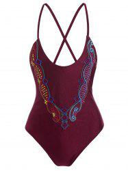 Plus Size Crossback Embroidered Swimsuit