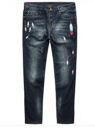 Plus Size Feather Embroidery Straight Jeans - DEEP BLUE 5XL
