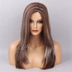 Long Oblique Bang Highlight Straight Synthetic Wig