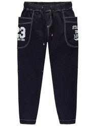 Taille plus 23 Print Drawstring Tapered Jeans - Bleu Violet 4XL