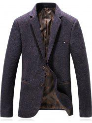 Lapel Single Breasted Wool Blend Edging Blazer - CONCORD 2XL