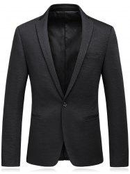 One Button Lapel Edging Cotton Blends Blazer - BLACK 3XL