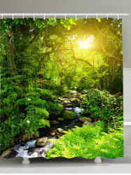 Forest Stream Sunlight Waterproof Shower Curtain - GREEN
