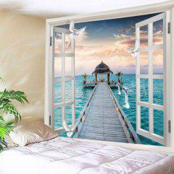 Window Sea Bridge Print Tapisserie Wall Hanging Art Décoration -