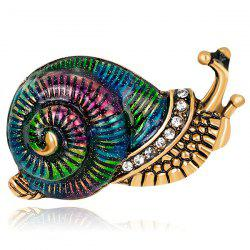Rhinestone Inlaid Enamel Snail Design Brooch - COLORFUL