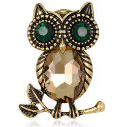 Owl Shape Retro Faux Crystal Inlaid Brooch -
