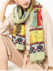 Ethnic Figure Pattern Shawl Scarf with Tassels - GREEN