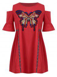 Plus Size Cold Shoulder Butterfly Embroidered  Tunic Top