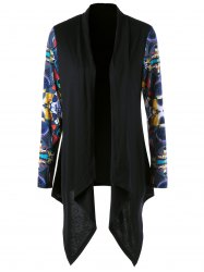Shawl Collar Printed Asymmetrical Cardigan