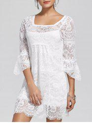 Square Neck Lace Mini Dress - WHITE