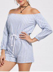Women's Stylish Striped Off The Shoulder Lace-Up Romper