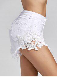 High Waist Lace Trim Mini Denim Shorts - WHITE