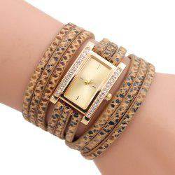 Faux Leather Rectangle Wrap Braclet Watch