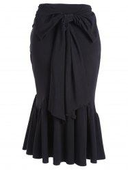 Fitted Belted Midi Mermaid Skirt