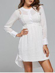 Long Sleeve High Low Lace Panel Dress